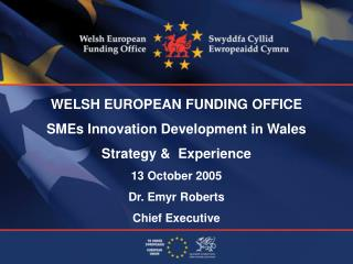 WELSH EUROPEAN FUNDING OFFICE SMEs Innovation Development in Wales Strategy &  Experience