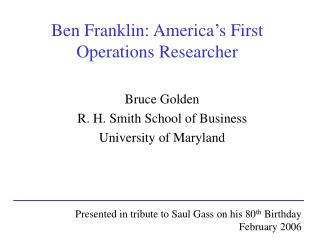 Ben Franklin: America's First Operations Researcher