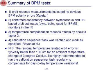 Summary of BPM tests:
