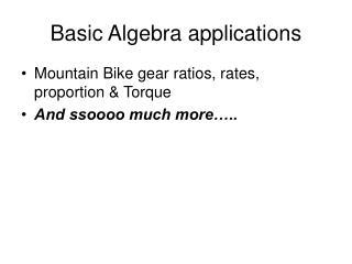 Basic Algebra applications