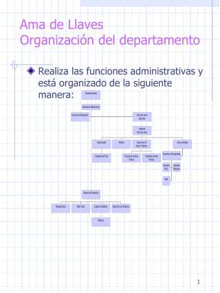 Ama de Llaves Organización del departamento