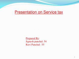 Presentation on Service tax