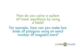 How do you solve a system of linear equations by using a table?