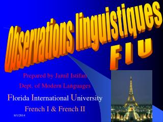 Prepared by Jamil Istifan Dept. of Modern Languages F lorida  I nternational  U niversity