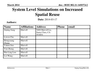 System Level Simulations on Increased Spatial Reuse
