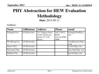 PHY Abstraction for HEW Evaluation Methodology