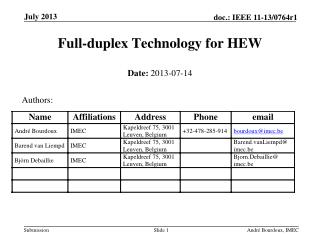 Full-duplex Technology for HEW