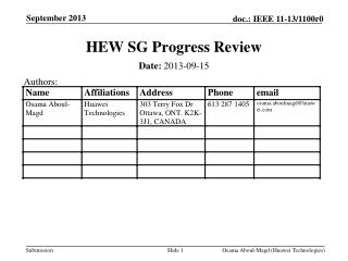 HEW SG Progress Review