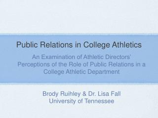 Public Relations in College Athletics