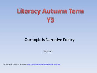 Literacy Autumn Term Y5
