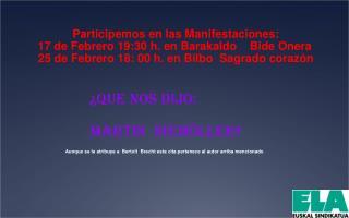 Participemos en las Manifestaciones: 17 de Febrero 19:30 h. en Barakaldo    Bide Onera