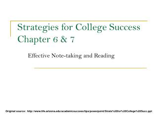 Strategies for College Success Chapter 6  7