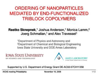 ORDERING OF NANOPARTICLES MEDIATED BY END-FUNCTIONALIZED TRIBLOCK COPOLYMERS