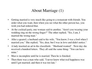 About Marriage (1)