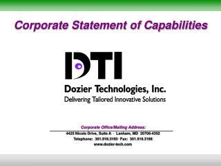 Corporate Statement of Capabilities