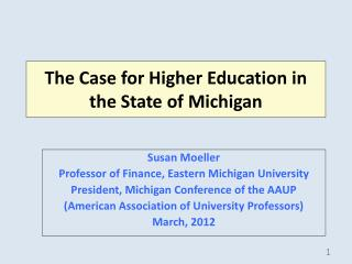 The Case for Higher Education in the State of Michigan