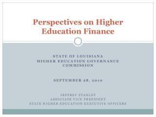 Perspectives on Higher Education Finance