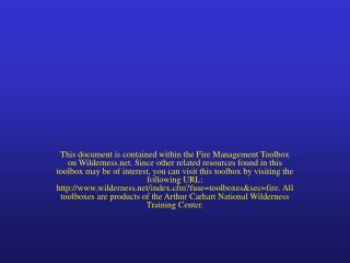 Wilderness Fire Resource Advisor Training: