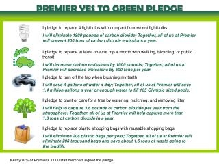 PREMIER YES TO GREEN PLEDGE