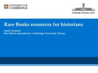 Rare Books resources for historians