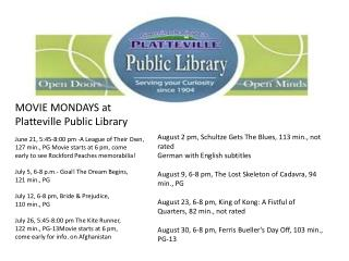 MOVIE MONDAYS at Platteville Public Library June 21, 5:45-8:00 pm -A League of Their Own,