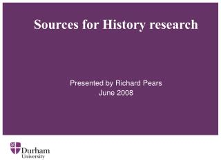 Sources for History research
