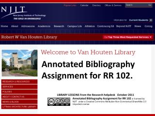 Annotated Bibliography Assignment for RR 102.