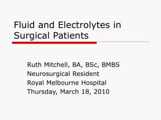 Fluid and Electrolytes in Surgical Patients