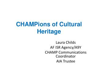 CHAMPions  of Cultural Heritage