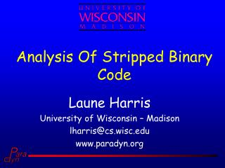 Analysis Of Stripped Binary Code