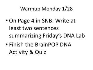Warmup  Monday 1/28