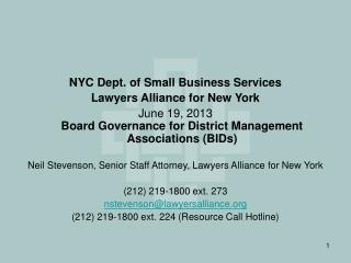 NYC Dept. of Small Business Services Lawyers Alliance for New York