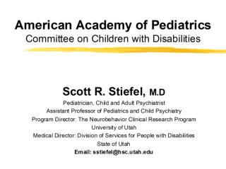 American Academy of Pediatrics Committee on Children with Disabilities Perspective on