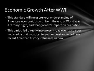 Economic Growth After WWII