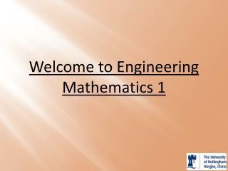Welcome to Engineering Mathematics  1