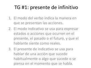 TG #1: presente de infinitivo
