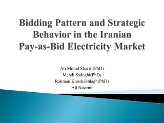 Bidding Pattern and Strategic Behavior in the Iranian  Pay-as-Bid  Electricity Market