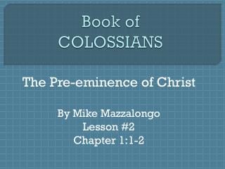 Book of  COLOSSIANS