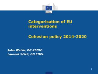 Categorisation of EU interventions Cohesion policy 2014-2020