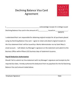Declining Balance Visa Card Agreement