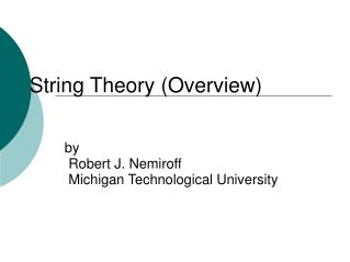 String Theory (Overview)