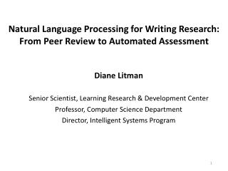 Natural Language Processing for Writing Research: From Peer Review to Automated Assessment