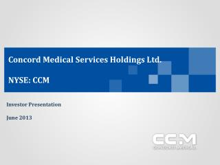 Concord Medical Services Holdings Ltd. NYSE: CCM