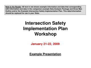Intersection Safety Implementation Plan Workshop