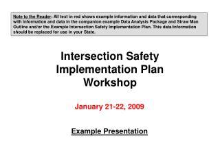 Intersection Safety Implementation Plan Workshop