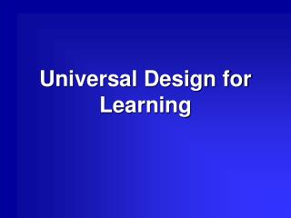 Universal Design for Learning