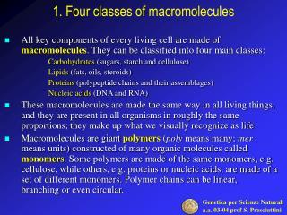 1. Four classes of macromolecules