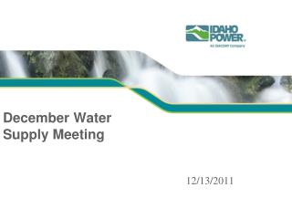 December Water Supply Meeting