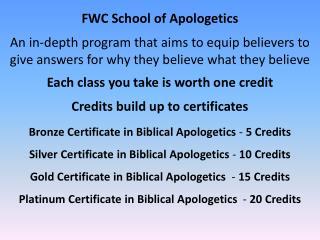 FWC School of Apologetics