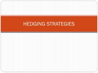 HEDGING STRATEGIES